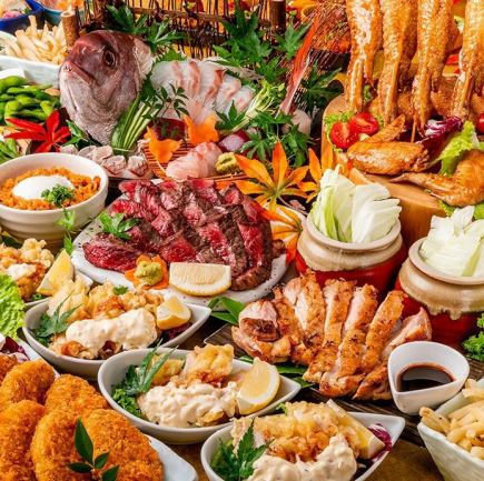 5月◇牛・チキンステーキ等選べる3種メイン料理「結コース」食べ飲み放題3時間含む全9品