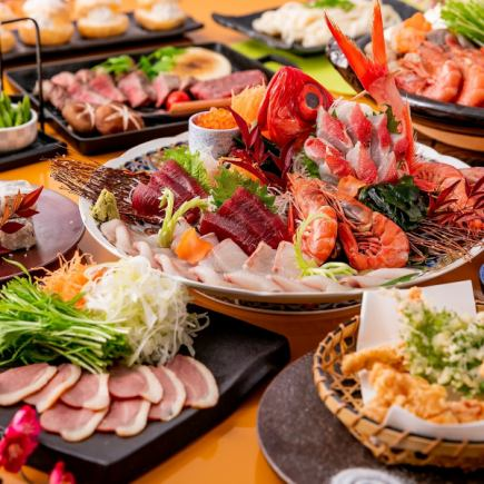"""All 9 dishes including 3 kinds of sashimi, beef roast steak, and shrimp seafood hot pot """"special course"""" All you can drink 2.5H"""