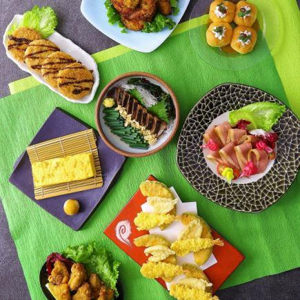 """4月:9種菜式,包括春季蔬菜和蝦天婦羅,first魚生魚片,雞翅"""" Hanagasa套餐""""無限暢飲3H"""