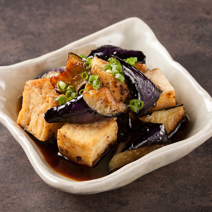 Eggplant and fried thick fried eggworth