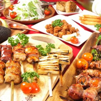 "【"""" Chicken ""drinking course】 8 kinds of skewers + 4 items + 120 minutes [drinking] 4000 yen"