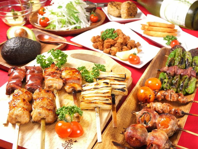 Yakitori Sanatorium ♪ plump plenty of skewers! Okinaga course 2200 yen / hen chicken course 2200 yen ※ 120 minutes with drinking 4000 yen