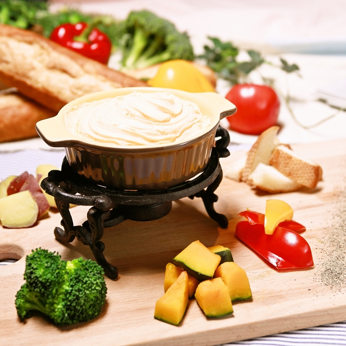 Rich vegetables and rich cheese fondue of fluffy cream ♪