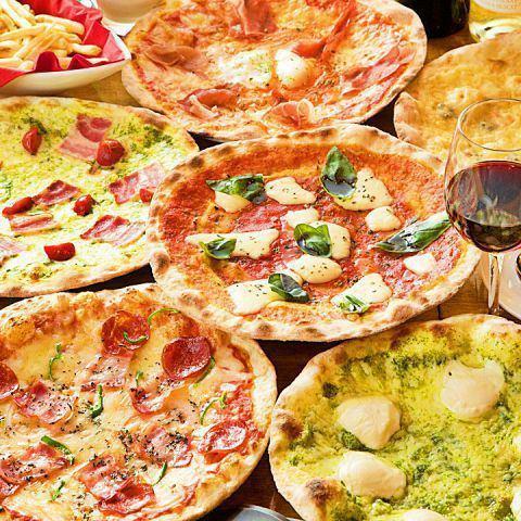 在石窯中烘烤的超大保濕比薩餅,一律500日元(不含稅)★