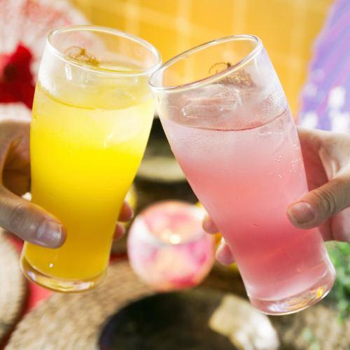 コースの飲み放題は果実酒等豊富に130種超!