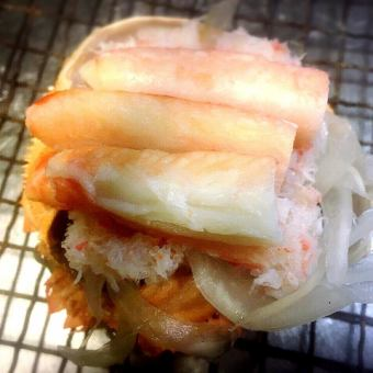 Rich crab shell grilled