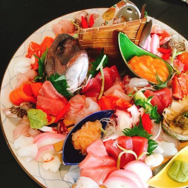 【什锦生鱼片】新鲜鱼生鱼片和生鱼片3个方格和5个生鱼片(2~3人份)