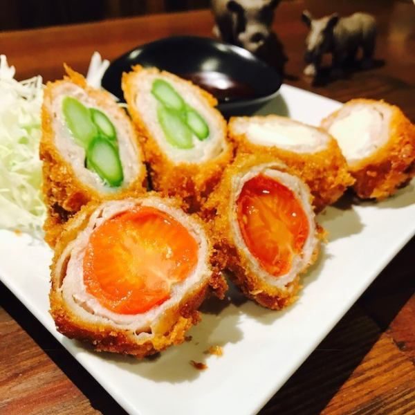 【Sai's meat roll】 Asparagus, Tomato etc Fresh vegetables wrapped in juicy meat, fried crisp ♪